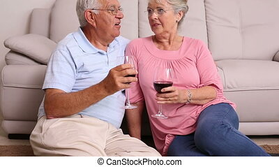 Senior couple sitting on floor drin
