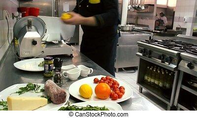Beef Carpaccio salad - Beef Carpaccio - lemon .