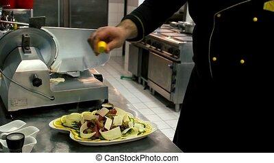 Beef Carpaccio - lemon on - Beef Carpaccio - decor