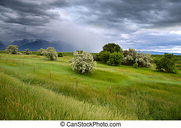 Stormy weather in Montana near Ninepipe wildlife refuge