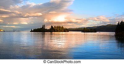 Lake Flathead - Panoramic view of Lake Flathead in evening...