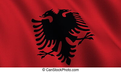 Flag of Albania, seamless loop - Flag of Albania waving in...