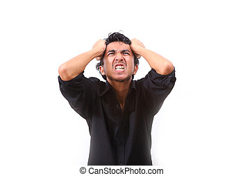 Young man furious over white background