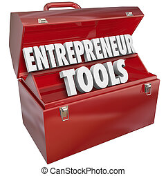 Entrepreneur Tools Red Toolbox Skills Ideas Information Help...