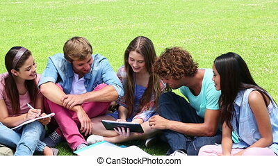 Students sitting outside talking together on college campus