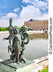 Pond in front of the Royal residence at Versailles near Paris in France