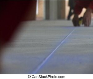 concrete floor marking - the worker mark concrete floor for...