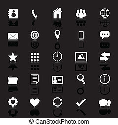 Contact icons with reflect on black background, stock vector