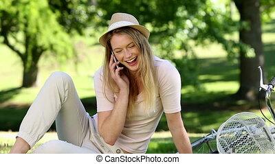 Pretty girl talking on smartphone
