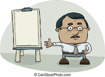 Flipchart Presentation - A cartoon man makes a presentation...