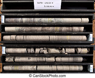 Core samples - Geological core samples in core boxes ready...