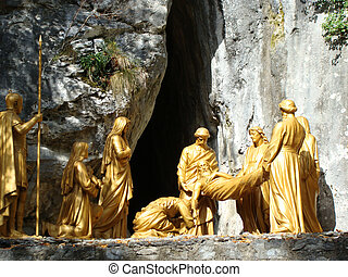 Jesus at tomb statue, Lourdes, France - Jesus at tomb statue...