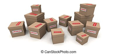 urgent packages - a 3d render of some urgent packages