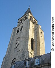 Bell tower of Saint-Germain-des-pres church in Paris