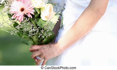 Beautiful bride smiling at camera - Beautiful bride smiling...