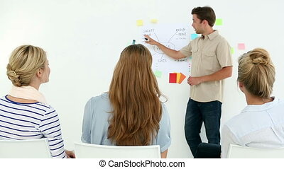Designer presenting his ideas on a whiteboard to colleagues...