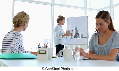 Businesswoman presenting bar chart to colleagues in creative...