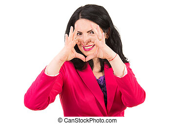 Woman heart shape in front of smile