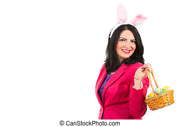 Beauty woman with Easter basket - Beauty woman with bunny...