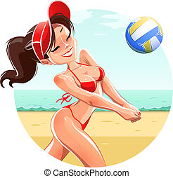Girl play volleyball on beach