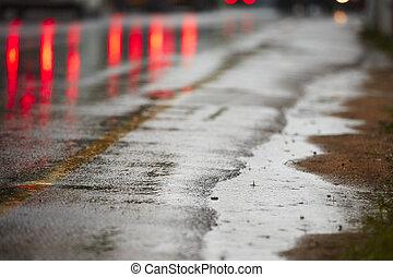 Heavy rain on the road