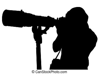 Big lens of photo - Journalist man with a photo camera
