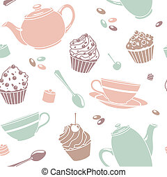 tea pattern - vector seamless tea pattern