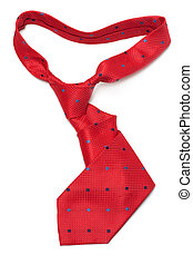 Red silk tie curly on white background