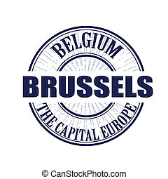 brussels stamp - brussels grunge stamp with on vector...
