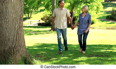 Happy couple walking in the park on a sunny day