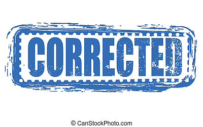 corrected stamp - corrected grunge stamp with on vector...