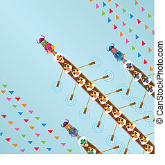 Chinese Dragon Boat competition illustration in high angle...