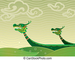 Dragon boat festival background - Dragon boat competition is...