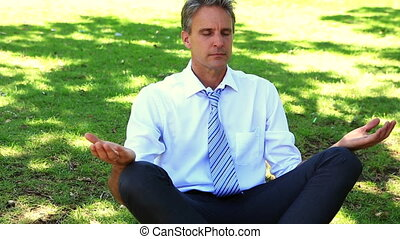 businessman doing yoga in the park