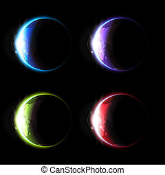 Planets set - The collection of different colorful planets.