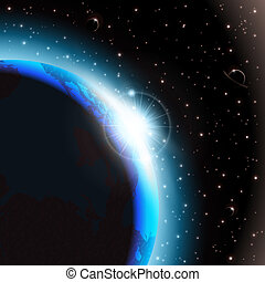 Space background - An outer space background with planets,...