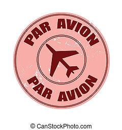 par avion stamp - par avion grunge stamp with on vector...