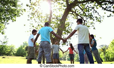 Young people holding hands in a circle on a sunny day