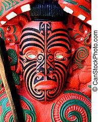 Zealand, guerrero,  maorí, escultura, nuevo