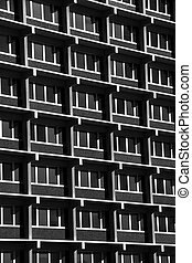 Building Exterior with Repetitive Pattern (black and white)