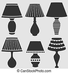 lamps set - vector silhouettes of lamps