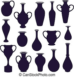 vases set - vector  set of  vases silhouettes