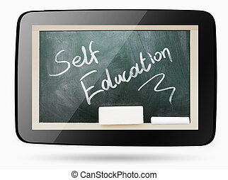 Blackboard inside computer tablet with Self Education chalk...