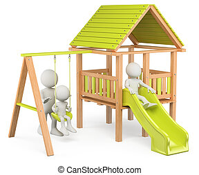 3D white people. Children playing on a playground - 3d white...
