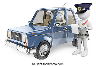 3D white people. Police imposing a fine on a driver - 3d...
