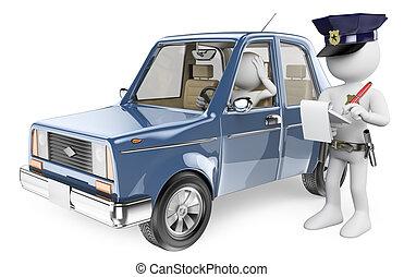 3D, branca, pessoas, polícia, impondo, multa,...