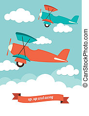 Aeroplanes and Clouds - An illustration of aeroplanes