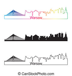 Warsaw skyline linear style with rainbow in editable vector...