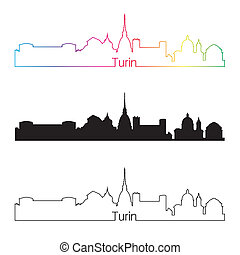 Turin skyline linear style with rainbow in editable vector...