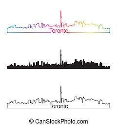 Toronto skyline linear style with rainbow in editable vector...
